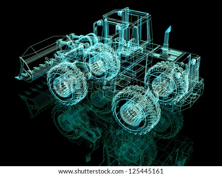 3d model bulldozer on black background - stock photo