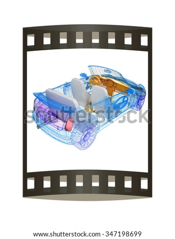 3d model cars. The film strip - stock photo