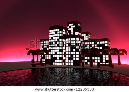 3d model city and skyline. made in 3ds max - stock photo