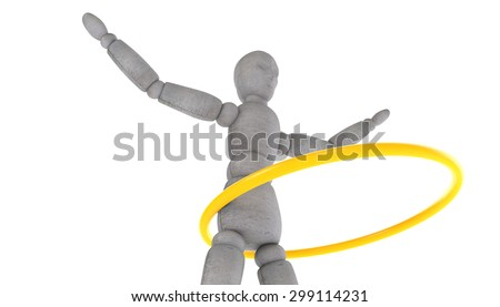 3d model doll turns shiny yellow band at the waist. Arms spread wide. Bottom side view - stock photo