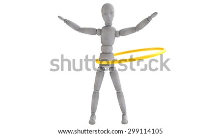 3d model doll turns shiny yellow band at the waist. Arms spread wide. Front view - stock photo
