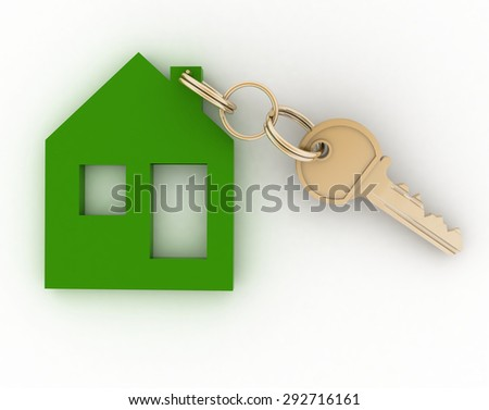 3d model ecological house symbol with key. - stock photo