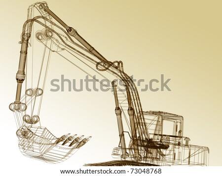 3d model excavator - stock photo