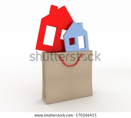 3d model house symbol set in a paper shopping bag - stock photo