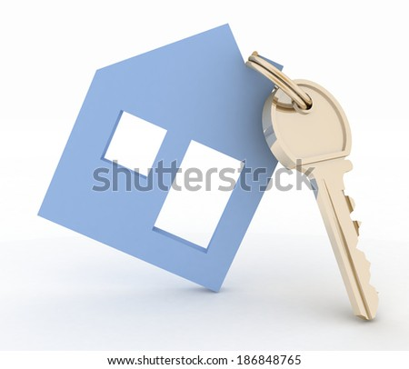 3d model house symbol with key.