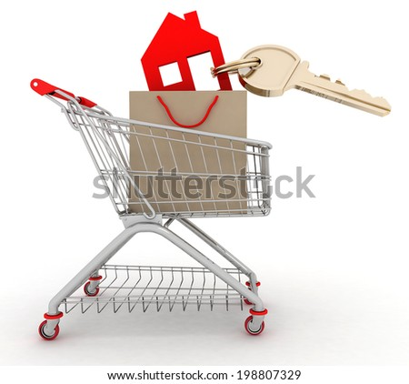 3d model house symbol with key in a paper shopping bag and shopping cart - stock photo