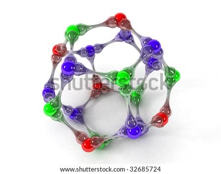3D model molecule - stock photo