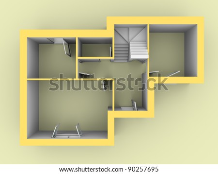 3d model of a house as seen from top view. Doors and windows are open - stock photo