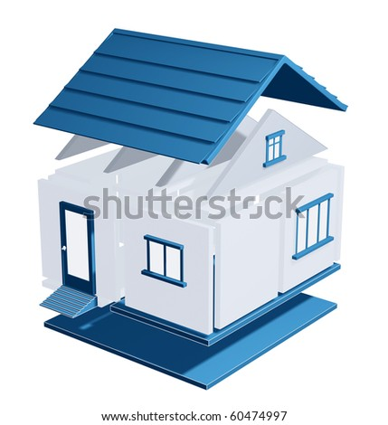 3d model of a house. Isolated over white