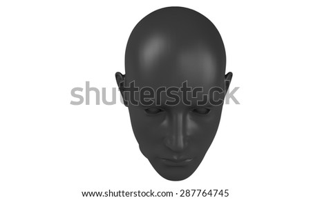 3d model of a humane head with black skin isolated on white. it is a man face with bold head staring at various angles looking strait.