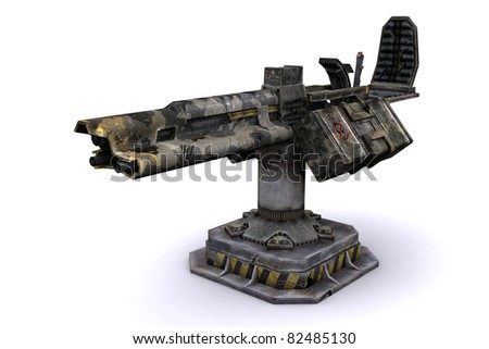 3d model of a machine gun from the future; - stock photo