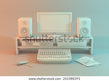 3d model of a music recording studio on a white background. A studio set up for sound recording with monitor equipment,  input devices and a microphone on a white background Created with 3d software. - stock photo