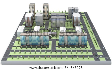 3D model of a residential area isolated on white background. - stock photo