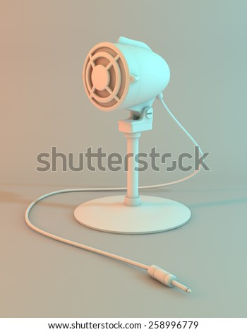 3D model of a vintage microphone in an empty room. An elegant retro microphone called bullet, usually used in radio transmission. Simulating studio shot with colored lights and a white background - stock photo