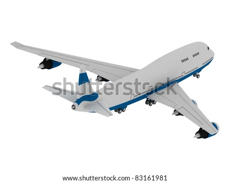 3D model of airplane isolated on white background - stock photo