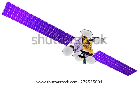 3D model of an artificial satellite of the Earth, equipped with solar panels and parabolic satellite communications antenna - stock photo