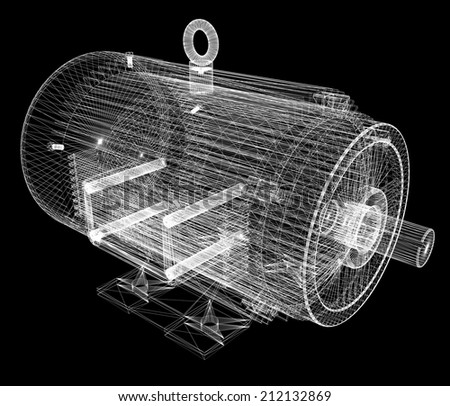 3d-model of an electric motor - stock photo