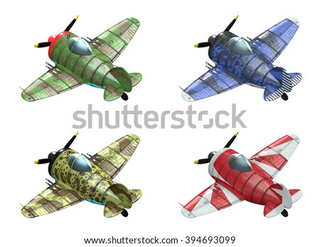 3D model of an stylized cartoon oldschool single engine fighter aircraft in different paint schemes. Perspective view. Isolated on white.