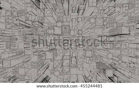 3D model of city.3D rendering illustration. Top view.Sketch style. - stock photo