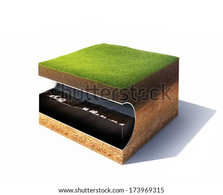 3d model of cross section of ground with grass and steel pipe with oil isolated on white - stock photo