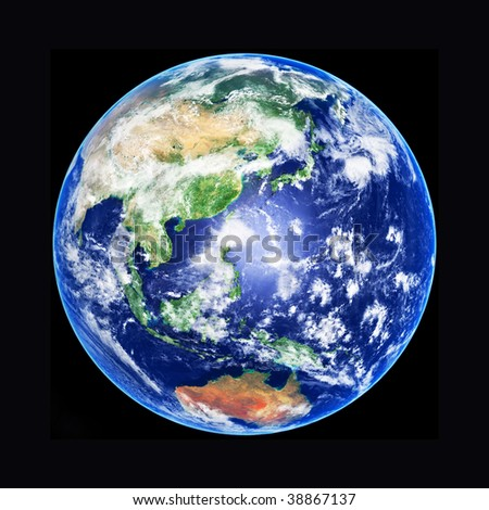 3D model of Earth Globe, Asia, high resolution image - stock photo