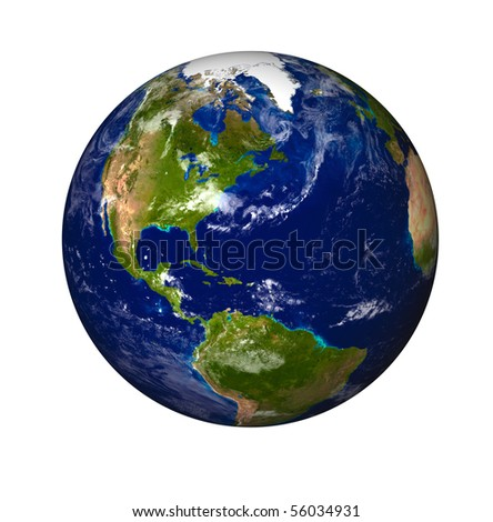 3D Model of Earth Planet. Blue Idill.