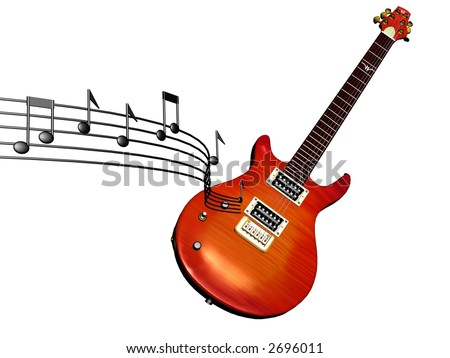 3d model of electric guitar with music notes flowing