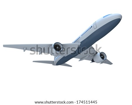 3D model of flying passenger aircraft isolated on white background - stock photo