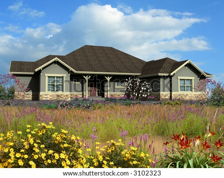 3d Model of gray siding ranch house photo-matched on grassy background