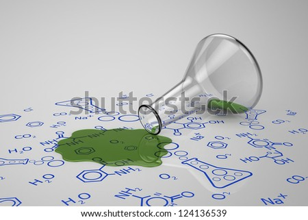 3D model of green liquid spilled from glass test tube on chemical diagram to present about experiment failed - stock photo