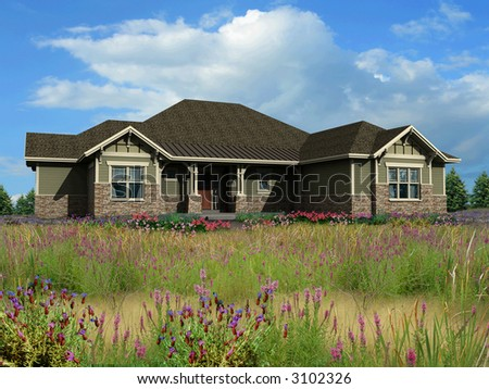 3d Model of green siding ranch house photo-matched on grassy background - stock photo