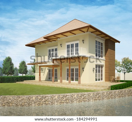 3d model of House by the lake - stock photo