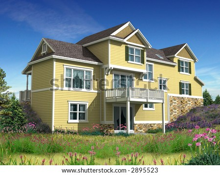 3d Model of house with yellow siding, photo-matched in grassy foreground - stock photo