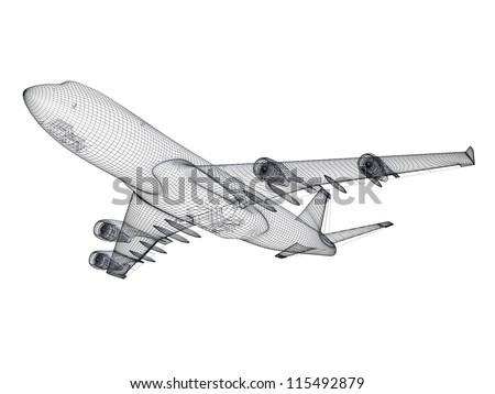 3D model of jet airplane isolated on white background - stock photo