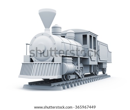 3D model of old steam locomotive isolated on white background.  - stock photo