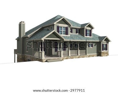 3d model of ranch house isolated on white, with work path included in illustration