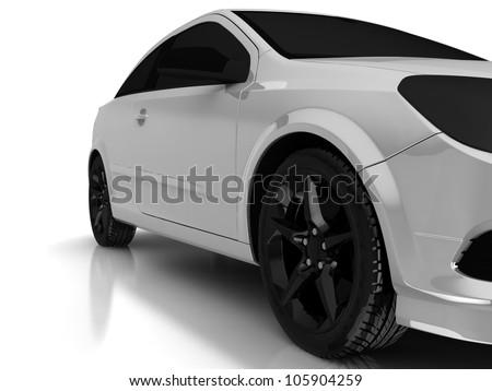 3d model of sport car for wallpaper - stock photo