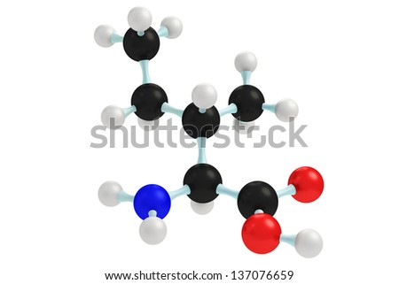 3d model of the amino acid isoleucine abbreviated as ILE or I isolated on white. - stock photo