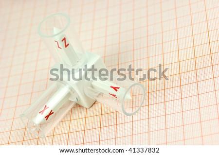 3-D model of the axis on graph paper
