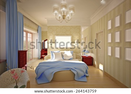 3-D model of the classic bedroom. 3D illustration