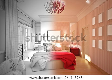 3-D model of the classic bedroom. 3D illustration - stock photo