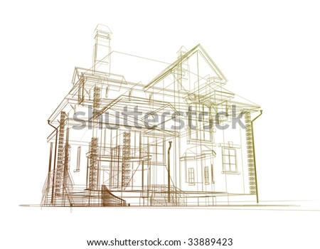 3d model of the house - stock photo