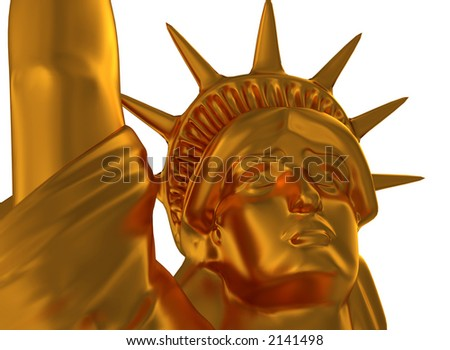 3D model - Statue of Liberty Golden - Close-up - stock photo