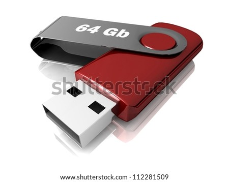 3D model USB Flash Drive isolated on white background. Size  64 Gb
