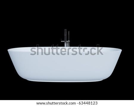 3D model . White bathtub - stock photo