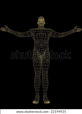 3d modeled body of a man - stock photo
