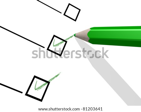 3D-modeled green pencil used to notch a check-list - stock photo