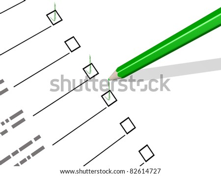 3D-modeled green pencil used to notch a check-list