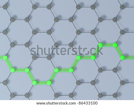 3D-modeled interlinked nodes, amongst whom a pathway is highlighted, representing concepts such as connection, choices, traceability, route, as well as internet and other communication networks - stock photo