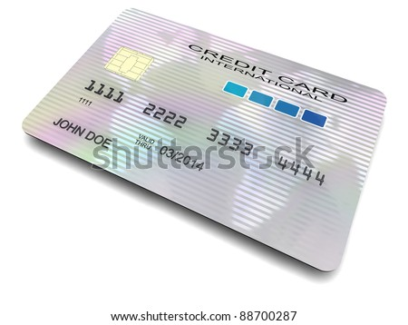 3D-modeled international credit card, with a chip, cropped on a white background, representing concepts such as business, consumerism, money and shopping - stock photo